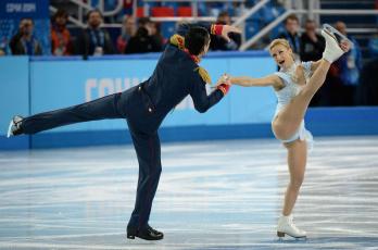 обоя спорт, фигурное катание, девушка, выступление, мужчина