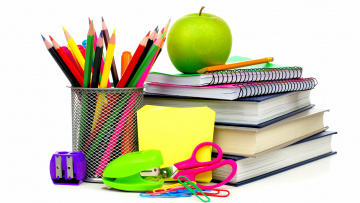 обоя разное, канцелярия,  книги, тетради, карандаши, точилка, ножницы, скрепки