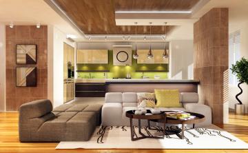 обоя интерьер, кухня, диваны, столик