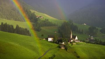 Картинка south tyrol austria города пейзажи радуга городок
