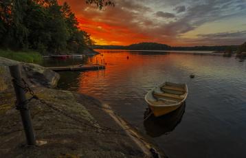 Картинка корабли лодки +шлюпки лес река