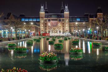 Картинка amsterdam города амстердам+ нидерланды огни канал ночь