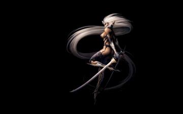 обоя фэнтези, эльфы, девушка, мечи, эльфийка, блондинка