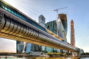 Картинка moscow+city города москва+ россия река небоскребы мост
