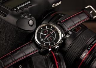 обоя бренды, canon, фотокамера, часы