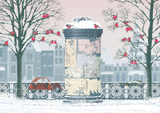 обоя векторная графика, город , city, снег, город, снегири, деревья, автомобиль