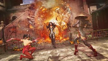 Картинка 3д+графика фантазия+ fantasy огонь взрыв осколки фон взгляд девушки