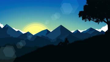 обоя векторная графика, природа , nature, облака, дерево, горы