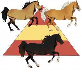 Картинка рисованное животные +лошади лошади фон