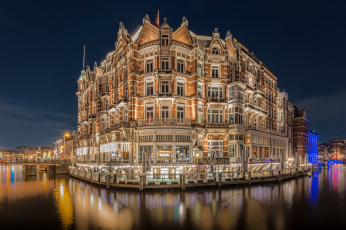 Картинка hotel+de+l`europe +amsterdam города амстердам+ нидерланды здание ночь вода
