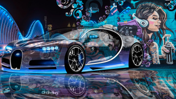 обоя bugatti chiron 3d super crystal city graffiti girl dogs street art car 2016, автомобили, 3д, street, art, car, 2016, dogs, girl, graffiti, city, bugatti, chiron, 3d, super, crystal