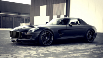 обоя mercedes-benz sls amg kicherer supercharged gt edition black 2009, автомобили, mercedes-benz, black, edition, gt, supercharged, kicherer, amg, sls, 2009
