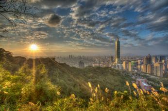 Картинка taipei города тайбэй+ тайвань +китай заря панорама город
