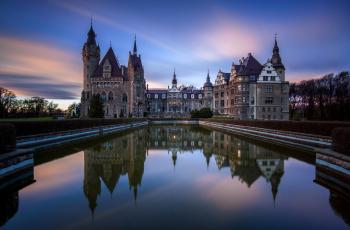 Картинка moszna+castle города замки+польши moszna фонтан ночь польша castle