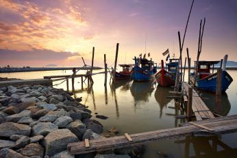 Картинка корабли лодки +шлюпки рассвет залив