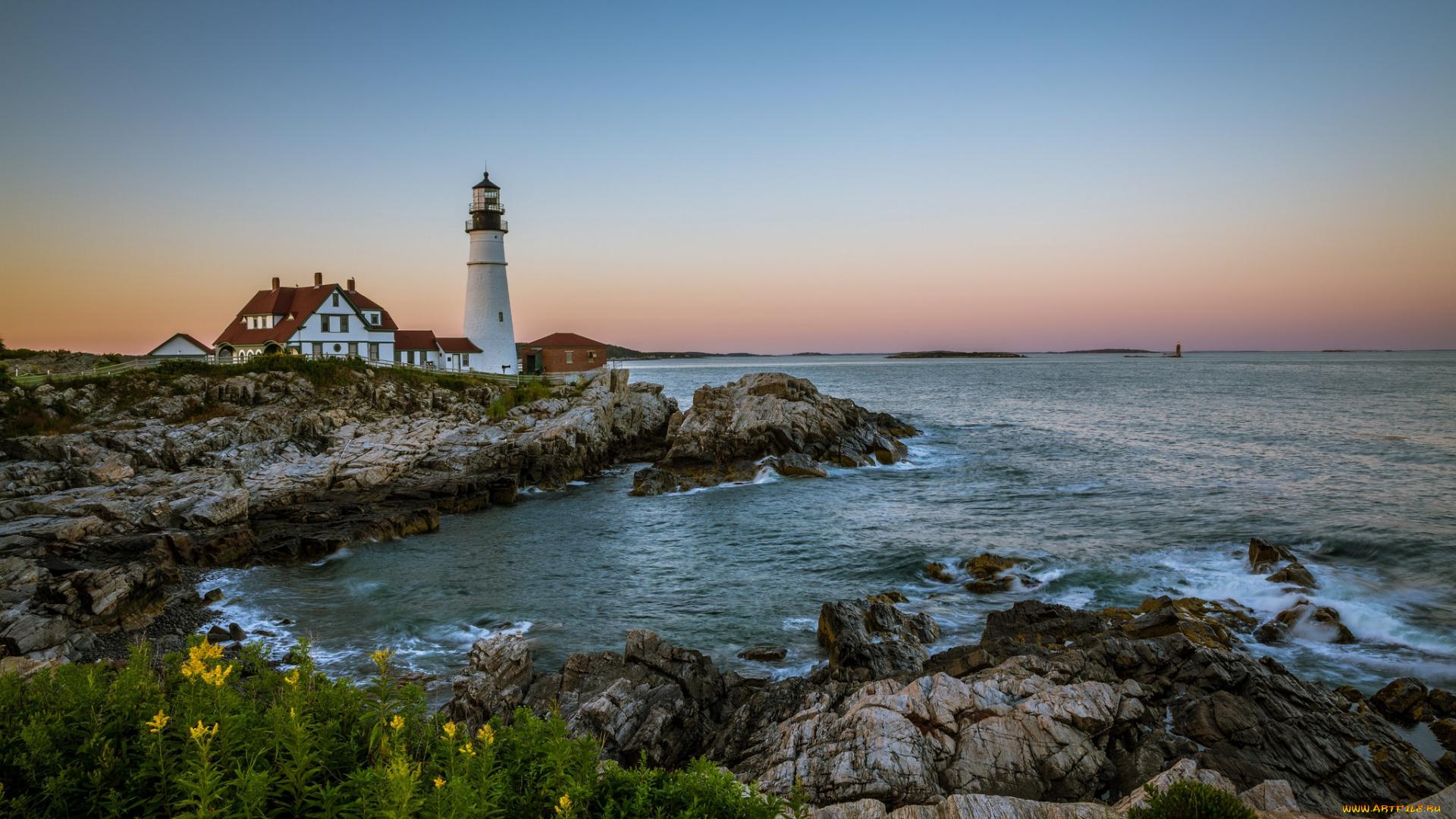 природа маяк море скалы загрузить