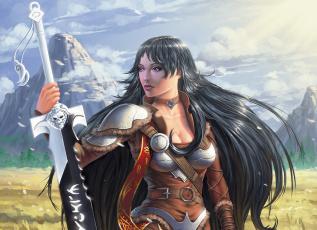 обоя фэнтези, девушки, девушка, поле, меч, брюнетка, akella, misanthropy, ветер, воин, воительница, горы