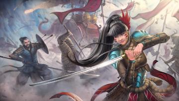 обоя фэнтези, девушки, азиат, слон, катана, девушка, меч, копье, битва, воин, стрелы, арт, война