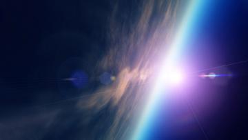 обоя космос, земля, пространство, свечение, квазары, свет