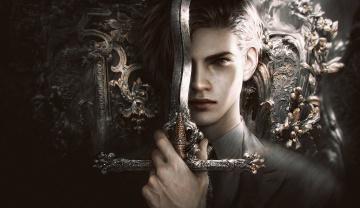 обоя фэнтези, люди, прическа, арт, меч, мужчина, лицо, костюм