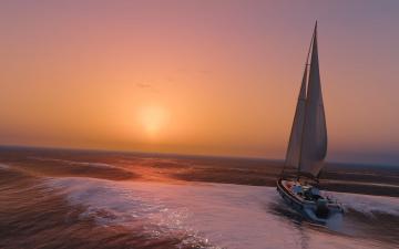 обоя корабли, Яхты, море, волны, закат, яхта