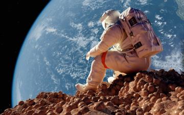обоя космос, астронавты, космонавты, земля, сидит, пространство, космонавт, орбита