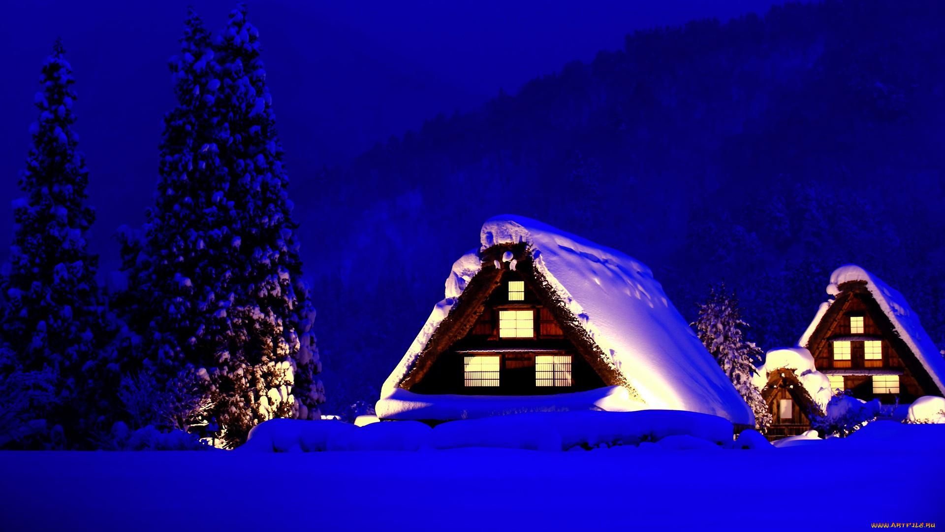 новый год дом ель ночь new year the house spruce night загрузить