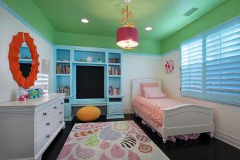 обоя интерьер, детская комната, кровать, дизайн, детская, секция, лампа, постель