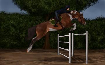 Картинка рисованное животные +лошади ипподром лошадь скачки жокей