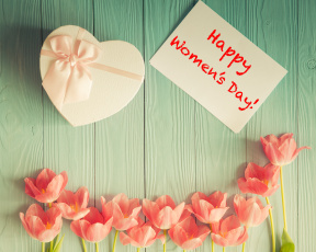 обоя праздничные, международный женский день - 8 марта, тюльпаны, подарок, праздник, 8, марта, happy, women's, day, надпись