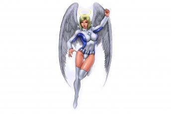 обоя рисованное, комиксы, нимб, крылья, взгляд, фон, девушка