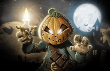 обоя праздничные, хэллоуин, тыква, свеча, фон