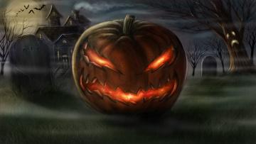 обоя праздничные, хэллоуин, тыква, огонь, дерево