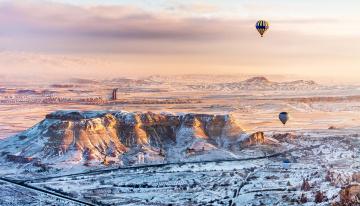 обоя авиация, воздушные шары, снег, турция, горы, воздухоплавание, полет