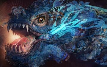 Картинка фэнтези существа зубы глаза рыба чудовище пасть