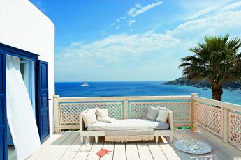 обоя интерьер, веранды,  террасы,  балконы, пальма, море