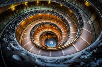 обоя интерьер, дворцы,  музеи, италия, ватиканский, музей, лестница, спираль
