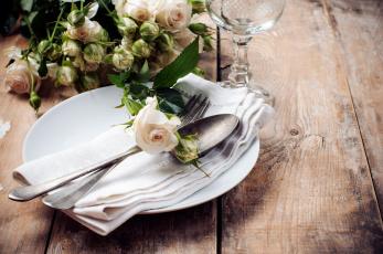 обоя интерьер, декор,  отделка,  сервировка, розы, приборы