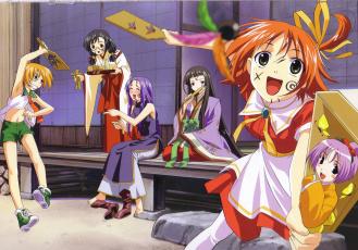 Картинка аниме raimuiro+senkitan девочки дом двор женщина радость ступенька