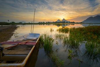 Картинка корабли лодки +шлюпки рассвет