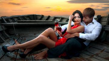 обоя разное, мужчина женщина, лодка, бокалы, вино, влюбленные, закат