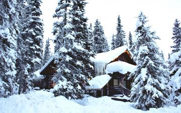 обоя города, - здания,  дома, сосульки, елки, снег, сугробы, дом