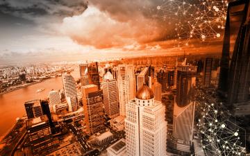 обоя разное, компьютерный дизайн, графика, дома, цвет, панорама, тучи, река, здания, город