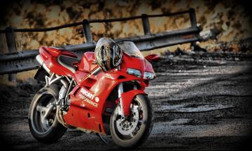 Картинка мотоциклы ducati helmet bike red 748