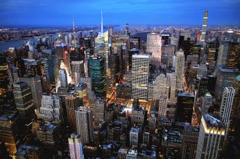 обоя empire state building, города, нью-йорк , сша, панорама, небоскребы
