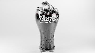 обоя бренды, coca-cola, стакан, лед, напиток