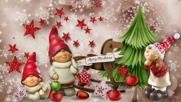 обоя праздничные, фигурки, гномы, снежинки, звездочки, надпись