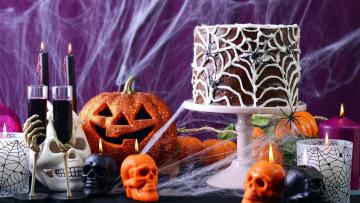 обоя праздничные, хэллоуин, череп, бокалы, свечи, торт, тыква