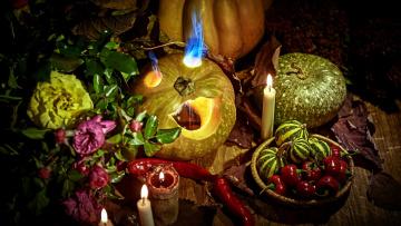 обоя праздничные, хэллоуин, тыква, свечи, перец, пламя