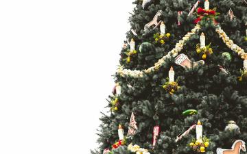обоя праздничные, Ёлки, лампочки, шары, елка, игрушки
